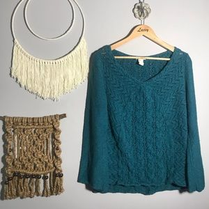 Sundance teal blue woven sweater top size large